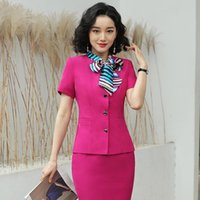Discount rose women dress suits Elegant Rose Summer Short Sleeve Formal Women Business Suits With Tops And Skirt Ladies Office Professional Blazers Scarf Two Piece Dress