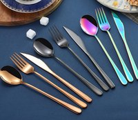 korean stainless steel chopstick 2021 - Korean sets stainless steel long handle knife fork spoon chopsticks set colorful flatware for wedding kitchen accessories ZWL253