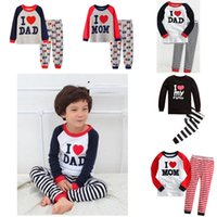 Baby Clothing Set For Girl Boy Pajamas Long Sleeve Top Pants 2 Pieces Letter Print I Love Dad Mom Stripe Trousers Suits Sleepwear