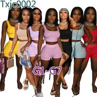 Women Tracksuits Two Pieces Set Deisgner Outfits Slim Sexy Solid Color Metal Strapped Sleeveless Shorts Ladies Sportwear 47 Styles