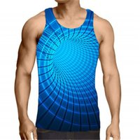 tank men beach 2021 - Mens Tank Tops 3D Vortex Colorful Printing Fashion Trend Casual Loose Vest Designer Male Summer Beach Tanks Underwear