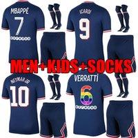 ADULT KIDS KIT 21 22 MBAPPE soccer jersey Survêtement VERRATTI 2021 2022 MARQUINHOS ICARDI Neymar MEN full SETS maillots de football SHIRTS socks rainbow numbers