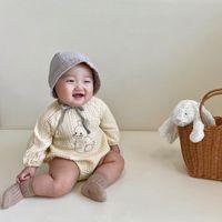 INS Korean Australia Newborn Baby Rompers Toddler Infant Bodysuit Spring Autumn Rabbit Printing Organic Linen Cotton Boy Girl Kids Jumpsuit