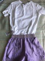 2021 Women's Fashion casual short sleeve T-shirt +pants pant jacquard fabric Shorts Set 100% Cotton T Luxus embroidered letter design women