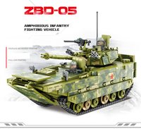 Discount amphibious vehicles ZBD-05 Amphibious Infantry Fighting Vehicle Tank Model Kits People's Liberation Army of China PLA Military Toy Marine Corps Building Blocks For Boy