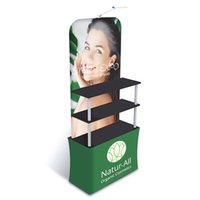 Trade Fair Advertising Display Promtion Counter Rack with HDF Top-Bottom Boards Thick Aluminum Tube Tension Fabric Printed Graphic Portable Carry Bag