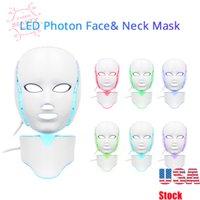 LED Photon 7 Colors Facial Neck Mask PDT Skin Rejuvenation Acne Remover