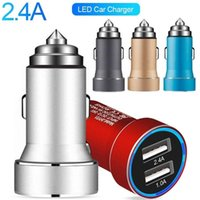 android tablet car pc 2021 - Led Light car charger Dual Usb Ports Aluminum Alloy 3.4A Chargers for iphone 7 8 x samsung Htc Android phone Tablet PC Gps