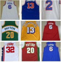 Mens Basketball Jerseys 2 Moses Malone 6 Julius Erving Jersey Blue Red White 32 Julius Erving 13 Wilt Chamberlain Stitched Size S-2XL