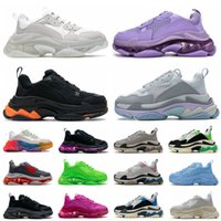 Fashion Triple S Clear Sole Mens Women Casual Shoes Paris 2.0 17FW Crystal Bottom Alll White Green Black Purple Pink Rainbow Sports Outdoor Dad Shoe
