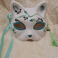 half face japanese mask 2021 - Half face cat fox mask, hand painted tiktok, same style Japanese and wind cartoon children's party dance costume.