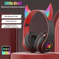 Wholesale Devil s Corner Wireless Bluetooth compatible mm Game Headset Cat Ear Luminous Headphone Stereo Music Earbud Earphone with Mic