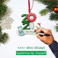DHL delivery Resin ABS 2021 Christmas Decoration Birthdays Party Gift Product Personalized Family Of 9 Ornament Pandemic DIY Accessories with Rope
