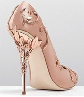 Ralph Russo Rose Gold Comfortable Designer Wedding Bridal Shoes Fashion Women eden Heels Shoes for Wedding Evening Party Prom Shoes In Stock