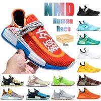 With Box NMD Human Race men women running shoes core black white aqua orange chocolate Hu Pharrell solar pack blue BBC mens sneakers