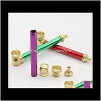 Discount wholesale mini acrylic box Metal Portable Copper Hand 10Cm Mini Tobacco Smoke Filter Pipes Oil Burner Pipe Smoking Accessories Gga36201 Dttls Rovbc