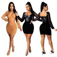 Women Dress Slim Sexy PU Leather Mesh Stitching Folds Solid Colour Long Sleeve Laides Fashion Tight Skirt