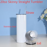 PROMOTION 20oz Sublimation STRAIGHT Tumbler Stainless Steel Mugs White Blank Double Wall Vacuum Insulated With Sealing Lid and Plastic Straw Car Water Bottle A05