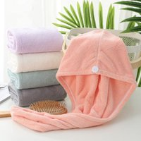 Microfiber Hair Dry Wrap Drying Towels Care Cap Wrapped Bath Caps Button Original Magic Instant Women Super Absorbent Quick-Drying H-0085