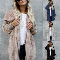Womens Faux Fur Jackets Outerwear Winter Hooded Velvet Coats Pocket Design Loose Women Clothing Warm Soft Tops