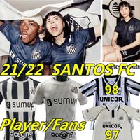 21 22 FC SANTOS soccer jerseys fans player version EMERSON SOTELDO PELÉ KAIO JORGE MARINHO RODRYGO CARLOS SÁNCHEZ F.JONATAN football jersey shirts S.F.C. men kids kit third