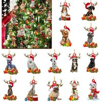 2021 Wooden Cute Dog Christmas Tree Ornament Xmas Shatterproof Ball Figurines Decor Nativity Party DIY Blessing Puppy Deer Pendant Sculptures Gift