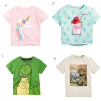 2021 Summer Baby Kids Clothing T-shirt 100% Cotton Short Sleeve Dinosaur print Flowers Girl Boy Top