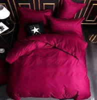 Cotton Bedding Sets Letter Printed High Quality Sheet Duvet Comforter Cover Pillowcase European Style Designer Solid Color Quenn Size