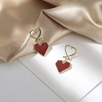 Discount red heart shape earrings jewelry Romantic Red Geometric Heart-shaped Earrings Elegant Wedding Party Gold Stud Jewelry Fashion Valentine's Day Gift