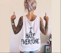Discount hip hop designs for t shirts I HATE EVERYONE Funny Womens T Shirts Sexy hip hop Streetwear tees Design Graphic Tee For Female