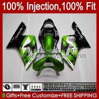 Injection Mold Kit For KAWASAKI NINJA ZX-636 ZX600 ZX 6R 6 R 600 CC 03-04 Body 8No.44 ZX 636 600CC ZX6R 03 04 ZX600C ZX636 ZX-6R 2003 2004 Fairing OEM Bodywork metal green