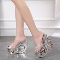 transparent wedges slippers 2021 - Wedge Sandals High-heeled Slippers Rhinestone A373 Transparent Crystal Women Summer Sexy Slides Rubber PVC