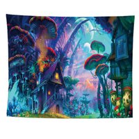 Psychedelic Mushroom Tapestry Home Wall Hanging Art Decor Living room Bedroom Backdrop Decoration 3D Fairytale Fantasy Forest Tapestries