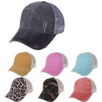 Ponytail Hats 30 Colors Washed Mesh Back Leopard Sunflower Plaid Camo Hollow Messy Bun Baseball Cap Trucker Hat LJJO8225