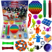 Party Favor 24PC Set Christmas Fidget Toys Advent Calender Blind Box Gifts Dimple Decompression Toy Soft Squeeze Logical Reasoning Training Novelty Gift GGA3890