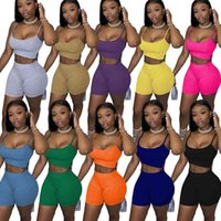 Women Tracksuits Two Pieces Set 10 Colors Top + Shorts Cycling Pant Suit With Halter Vest In Solid Color