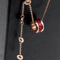 2021 women luxury designer jewelry roman numeral ceramic pendant necklaces rosegold color stainless steel mens necklace gold chain box