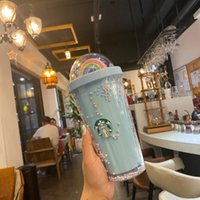 450ML Cute Rainbow Starbucks Tumblers Cup Mugs Double Plastic with Straws PET Material for Kids Adult Girlfirend Gift Products FY4479