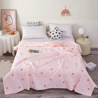 kids summer blankets 2021 - Summer Funny Small Flower Print Thin Quilt For Adult Kid Cartoon Blanket Beds Machine Washable Bed Cover Bedspread Blankets