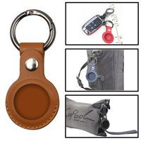 PU Leather Case for AirTag Finder Anti-Scratch Protetive Cover With Keychain
