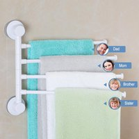 Discount suction towel bar Four Arm Towel Holder Rotating Rack Waterproof Bathroom Kitchen Wall-mounted Hanger Plastic Suction Cup Bar Racks