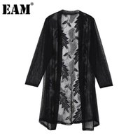Discount long summer trench women Women's Trench Coats [EAM] Women Black Lace Mesh Long V-collar Three-quarter Sleeve Loose Windbreaker Fashion Spring Summer 2021 1DD8705