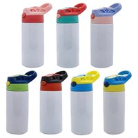 Children 12oz Straight Sippy Cup Sublimation Blank Kids Water Bottle Tumbler Double Wall Stainless Steel Vacuum Insulated Drinking Mugs With Handle Spill Proof Lid