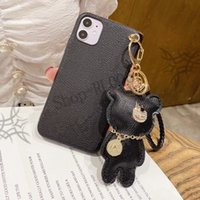 Beautiful bear decoration leather phone case, suitable cases for iPhone X S R 7 8 plus 11 12 pro MAX cute gifts