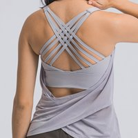 Fitness Woman High Impact Sport Tanks Cross Straps Wirefree Adjustable Buckle Spandex Yoga tops Gym Workout Bra