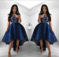 2021 Vintage Navy Blue Lace Cocktail Dresses Neck High Low Short Party Prom Gowns Homecoming Dresses Arabic Vestidos Evening Dresses