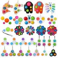 26 Styles Finger Fun Fidget Bubble Toys Push Pop It Simple Dimple Key Ring Sensory Squeeze Balls Bubbles Keychain Unicorn Flower Butterfly