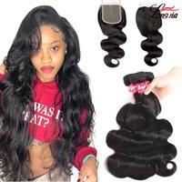 Brazilian Body Wave Human Hair Bundles With Lace Closure 4x4 Lace Closure With Straight Hair Bundles loose deep water Wave