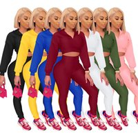 Designer 2021 autumn Women solid color Tracksuit Zipper Stand Collar Tops Pants Set Fashion Outfits Plus Size 2 Piece Set