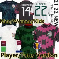 2021 Mexico soccer jerseys CONCACAF Gold Cup Camisetas 21 22 Fans Player version CHICHARITO LOZANO DOS SANTOS 2022 national team football shirts Men Women Kids kit
